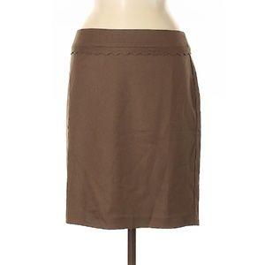 Ann Taylor Scalloped Soft Brown Skirt